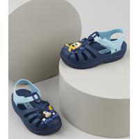 Babuche Infantil Grendene Mickey E Pluto Azul Marinho