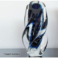 Vaso Com Torção- Incolor & Azul Marinho- 28Xø12Cm