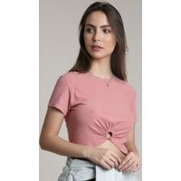 Blusa Feminina Cropped Canelada Com Argola Manga Curta Decote Redondo Rosê