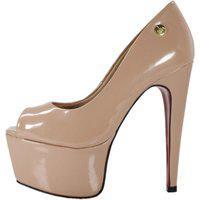 Peep Toe Week Shoes Meia-Pata Salto 15 Verniz Nude.