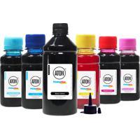 Kit 6 Tintas L800 Para Epson Bulk Ink Aton Black 500Ml Cmyk