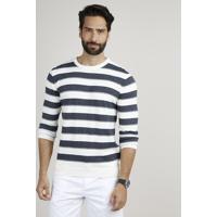 Suéter Masculino Em Tricô Listrado Gola Careca Off White