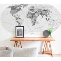 Painel Fotográfico Adesivo Mapa Preto E Branco 1,8M X 90Cm Grudado Adesivos