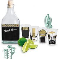Kit Garrafa Com Rolha E 4 Copos Dose Shot Tequila Rock Band