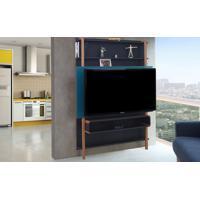 Painel De Tv Para Sala Preto Com Azul - Rack De Parede Para Tv Até 60 Polegadas Karl Woodinn - 134X25,5X180 Cm