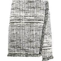 Pinko Asymmetric Woven Mini Skirt - Branco