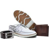 Kit Mocassim Dockside Couro Carteira Cinto Casual Masculino - Masculino-Off White