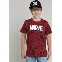 Camiseta Juvenil Marvel Estampada Quadrinhos Manga Curta Vermelha
