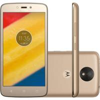 "Smartphone Motorola Moto C Plus - Ouro - 16Gb - 4G - Dual Chip - Tela 5"" - Câmera 8Mp - Tv Digital - Android 7.0"