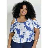 Blusa Tie Dye Azul Com Ombros Vazados Plus Size