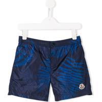Moncler Kids Shorts De Piscina Estampado - Azul