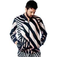 Jaqueta Bomber Estampada Elephunk Full Print Zebra - Masculino-Preto