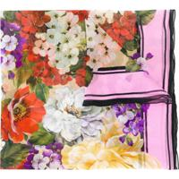 Dolce & Gabbana Echarpe De Seda Com Estampa Floral - Neutro