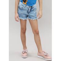 Short Feminino Infantil Com Tachas Jeans Claro