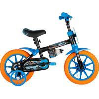 Bicicleta Aro 12 Com Rodinhas Hot Wheels Preta - Caloi