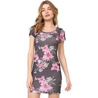 Vestido Lança Perfume Curto Floral Preto/Rosa