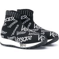 Young Versace Tênis Com Logo Bordado - Preto