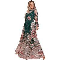 Vestido Longo Estampa Floral E Geométrico Fascínius Verde