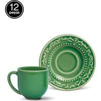 Conjunto 12Pçs Xícaras De Café Porto Brasil Acanthus Verde