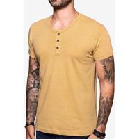 Camiseta Henley Amarela Linho 103544