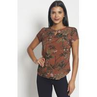 Blusa Floral Com Folhagens- Marrom Verde- Vip Resevip Reserva