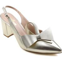 Sapato Slingback Zariff Metalizado Laço