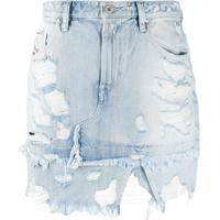 Diesel Asymmetric Distressed Denim Skirt - Azul