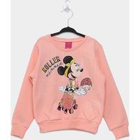 Moletom Infantil Cativa Disney Minnie Roller Feminina - Feminino-Rosa