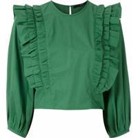 Eva Blusa Cropped Mangas Bufantes - Verde