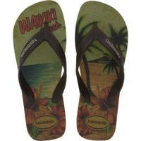 Chinelo Havaianas Surf 17 - Masculino - Verde Cla/Marrom Esc