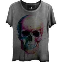 Camiseta Estonada Gola Canoa Corte A Fio Skull Colors