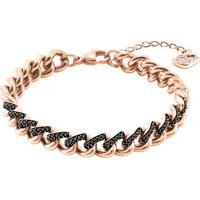 Bracelete Banhada Á Ouro Rosê - Rosê & Preto - 16,5Cswarovski
