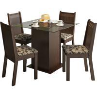 Sala De Jantar Madesa Base De Madeira Com Tampo De Vidro E 4 Cadeiras Lucy - Tabaco E Bege-Marrom