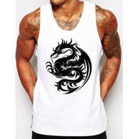 Camiseta Regata Criativa Urbana Dragão Tribal - Masculino-Branco
