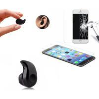 Mini Fone De Ouvido Bluetooth Preto E Película De Vidro Temperado Blindada Para Iphone 6 6S 7 8