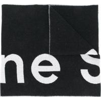 Acne Studios Cachecol Jacquard Com Logo - Preto