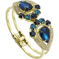 Bracelete Com Pedras Tudo Joias Folheado A Ouro 18K - Feminino-Dourado