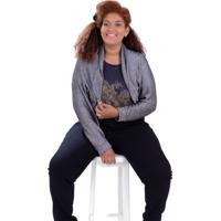 Bolero Maia Tricô Plus Size Vickttoria Vick Plus Size Cinza