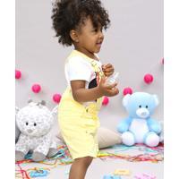 Jardineira Infantil Com Bolso Amarela