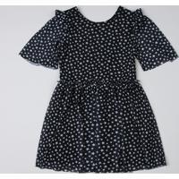 Vestido Infantil Estampado De Estrelas Com Tule Manga Curta Preto