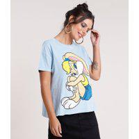 Blusa Feminina Lola Bunny Looney Tunes Ampla Manga Curta Decote Redondo Azul Claro