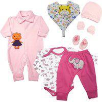 Kit 7 Peças Roupa De Bebê Estampada Presente Para Enxoval Rosa