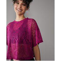 Amaro Feminino Camiseta Cropped Com Textura, Fuchsia
