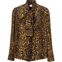 Burberry Leopard Print Silk Blouse - Neutro