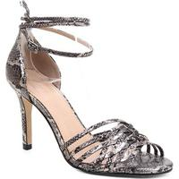 Sandália Couro Shoestock Tiras Cruzadas Salto Alto Feminina - Feminino-Prata+Preto
