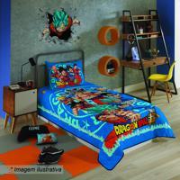 Colcha Dragon Ball® - Solteiro- Azul & Vermelha- 150Lepper