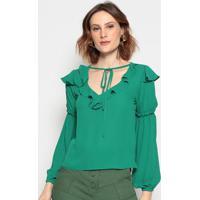 Blusa Lisa Com Babado - Verde - Chocoleitechocoleite