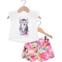 Conjunto 2Pçs Marisol Infantil Love It Branco/Rosa