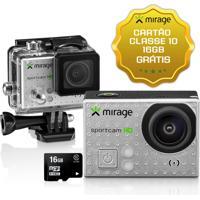 Câmera De Ação Sport Hd, Tela De Lcd 2 5Mp + Cartão 16Gb Prata Mirage - Mr3000