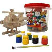 Brinquedo Educativo Helicoptero - 1 Peça + 6 Guaches + 1 Pincel Editora Fundamental Verde